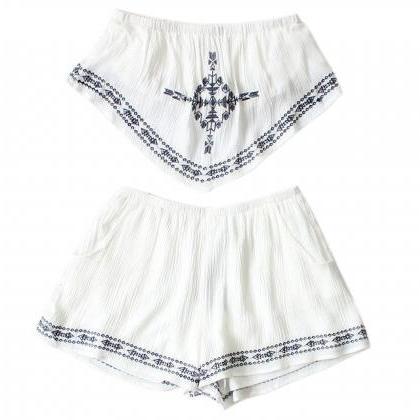Two Piece Embroidered White Straple..