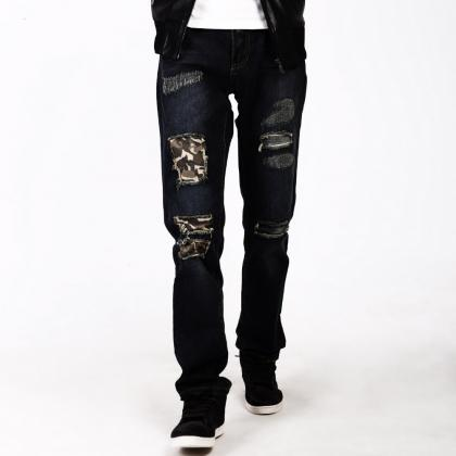 Patched Distressed Straight-Leg Jea..
