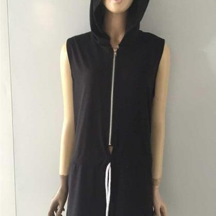Sleeveless Hoodie Jumpsuit Playsuit..
