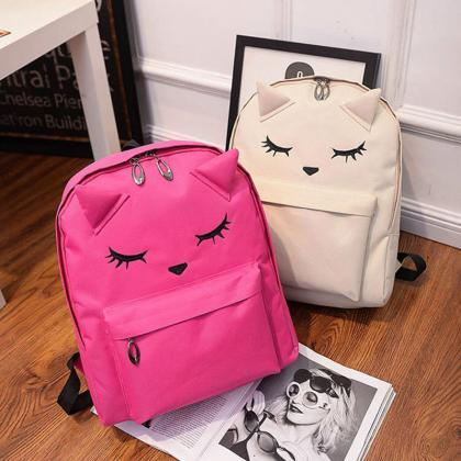 Embroidery Cat Ear Backpack (3 Colo..