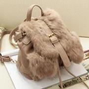 Drawstring Faux Fur Backpack Shoulderbag (Khaki or Black)