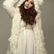 Fuzzy Cream Colored Jacket with Adorable Bear Ears