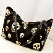Large Golden Skull Nylon Shoulder Bag (Black or White)