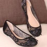 Classy Black Breathable Lace Flats With Small Bow