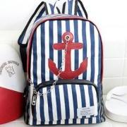 Navy Striped Large Anchor Backpack with Chain