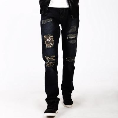 Patched Distressed Straight-Leg Jeans