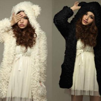 Fuzzy Cream or Black Colored Coat with Adorable Cat/Bear Ears S-3XL