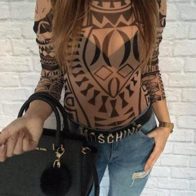 Vintage-Esque High Neck Tattoo Jumpsuit Bodysuit (2 Colors)