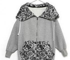 Gray Leopard Fleece ..