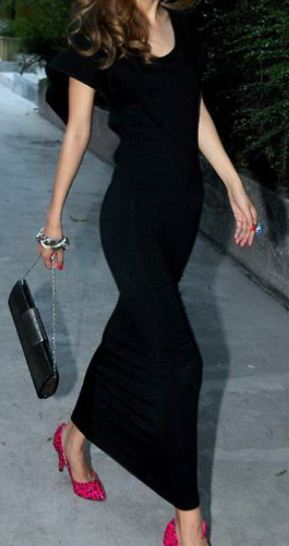 Elegant Black Open Back Stretchy Maxi Dress