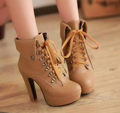 Hot Tan 4.7in Platform High Heel Ankle Boots