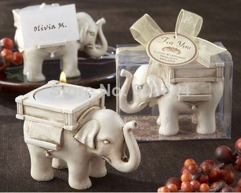 'Lucky Elephant' Antique Style Ivory Finish Tealight Candle Holder for Wedding Favors (Set of 50 pcs)