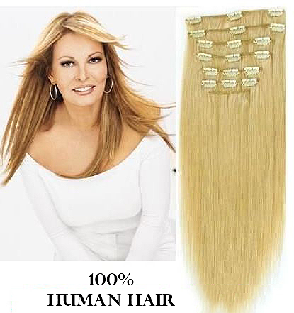 16 inches (40.6 cm) 7 Piece High Quality Remy Clip In 100% Real Human Hair Extensions Light Ash Blonde