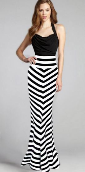 FREE SHIP ❤ Vintage Inspired High Waisted Black & White Striped Pencil Maxi Skirt