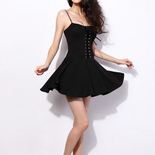 Black Spaghetti Strap Lace Up Bustier Dress on Luulla 8735883c492