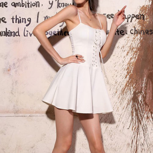 White Spaghetti Strap Lace Up Bustier Dress on Luulla 8e29d76137f