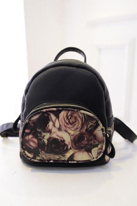 Mini Designer Vintage Rose Oil Painting Backpack