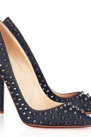 Stud Embellished Pointed-Toe High Heel Stilettos in Denim or Faux Leather