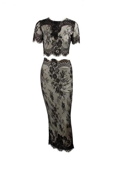 Black or Ivory Two-Piece Lace Top & Skirt Set