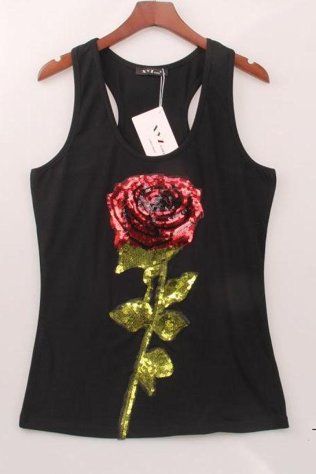 Stylish Black or White Large Sequined Red Rose Tank Top