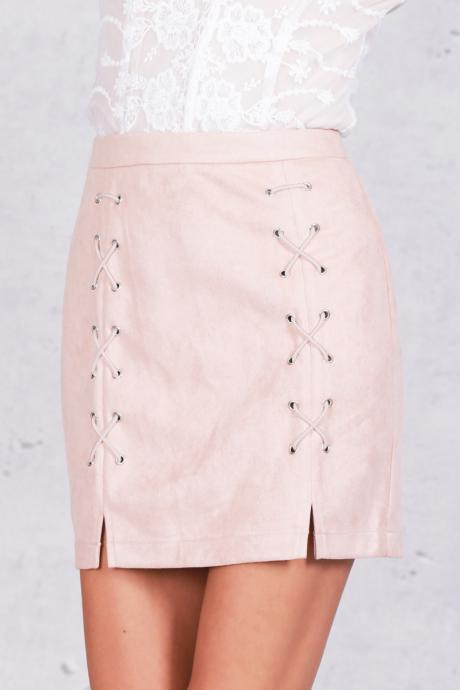 Classy Black or Pink Faux Suede Lace Up Mini Pencil Skirt (S,M,L)