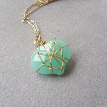 Gorgeous Mint Green/Blue Heart Glass Long Necklace