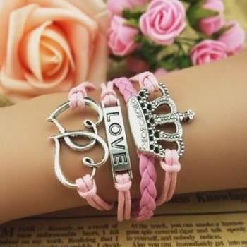 Pink Love Leather and Chord Charm Bracelet