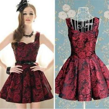 Gorgeous Wine Red Rose Pleated Dress