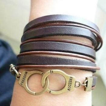 Vintage Style Faux Leather Handcuff Bracelet