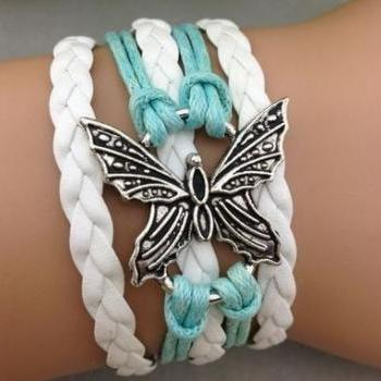 Mint & White Butterfly Bracelet
