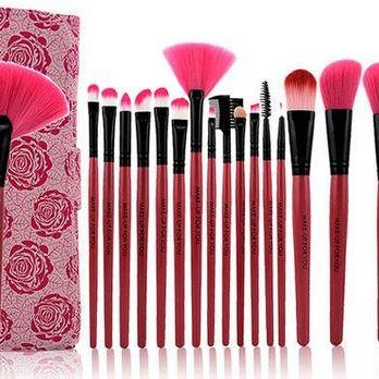 Professional 18 Piece Pink Rose Cosmetic Brush Set