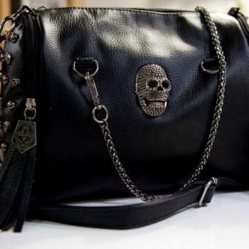 Cross-Body Black Rivet Skull Tassel Handbag