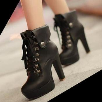 Hot Black 4.7in Platform High Heel Ankle Boots