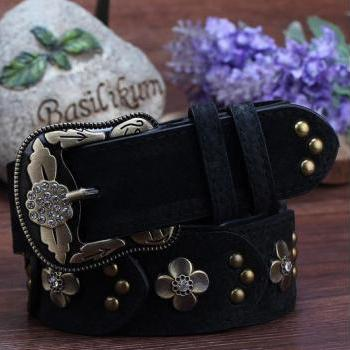 Gorgeous Black Vintage Style Genuine Leather Belt With Beautiful Faux Diamonds