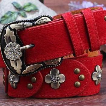 Gorgeous Red Vintage Style Genuine Leather Belt With Beautiful Faux Diamonds