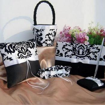 Classy 5 Piece Satin Black & White Damask Design Wedding Set