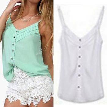 Chic & Beautiful White Chiffon Spaghetti Strap Tank Top (S-XXXL)