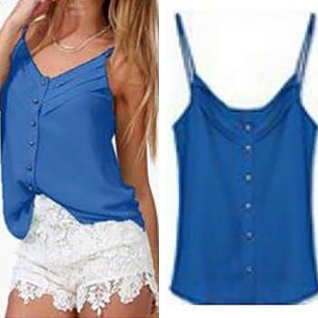 Chic & Beautiful Blue Chiffon Spaghetti Strap Tank Top (S-XXXL)