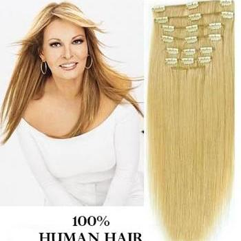 26 inches (66 cm) 7 Piece High Quality Remy Clip In 100% Real Human Hair Extensions Light Ash Blonde