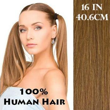 16 inches (40.6 cm) 7 Piece High Quality Remy Clip In 100% Real Human Hair Extensions Light Golden Brown
