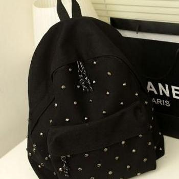 Black Canvas With Silver Rivets Backpack