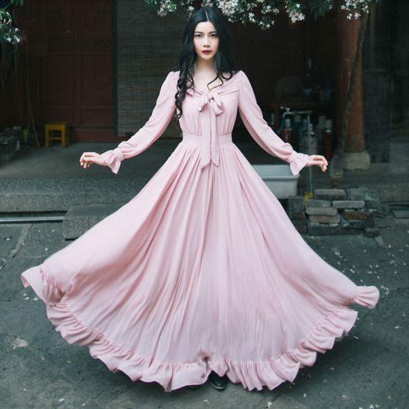 Pink Long-Sleeve Chiffon Vintage Style Dress