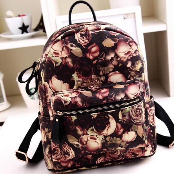 Designer Vintage Rose Oil Painting Backpack