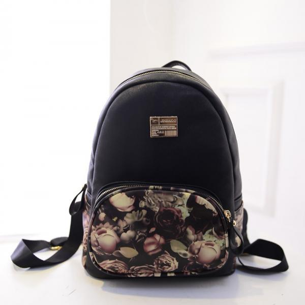 Small Designer Vintage Rose Oil Painting Backpack