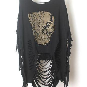 Ripped Black Sleeveless Tank Top Tiger, Skull or Flag Print