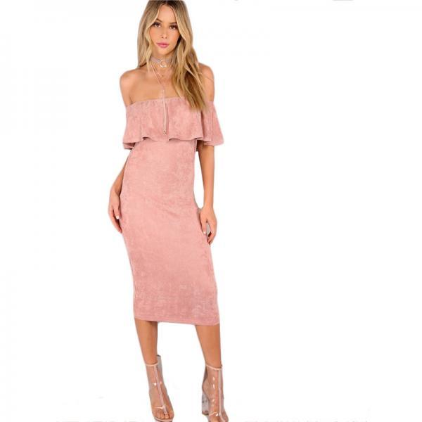 Stylish Sexy Rose Pink Off Shoulder Ruffle Faux Suede Dress