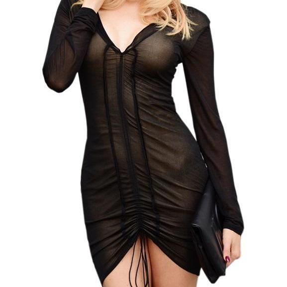 Sexy Deep V-Neck Long Sleeve Black Mesh Dress With Pleated Draw String