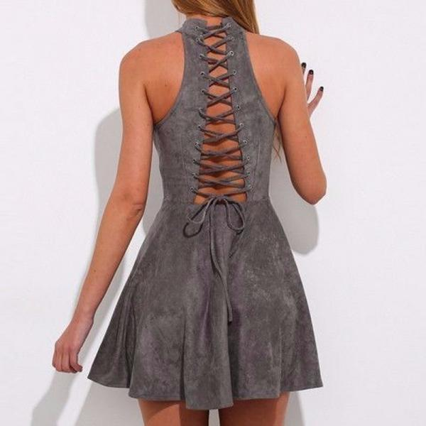 Stylish Sexy Lace Up A-Line Off Shoulder Pleated Faux Suede Dress
